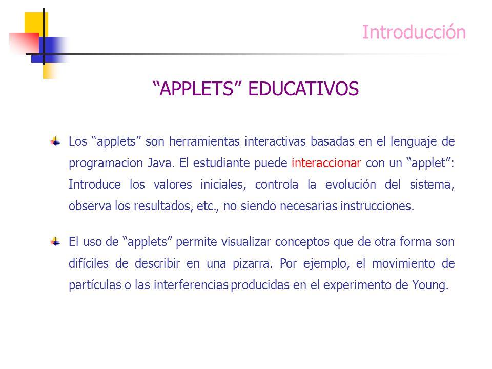 Introducción Los applets son herramientas interactivas basadas en el lenguaje de programacion Java. El estudiante puede interaccionar con un applet: I