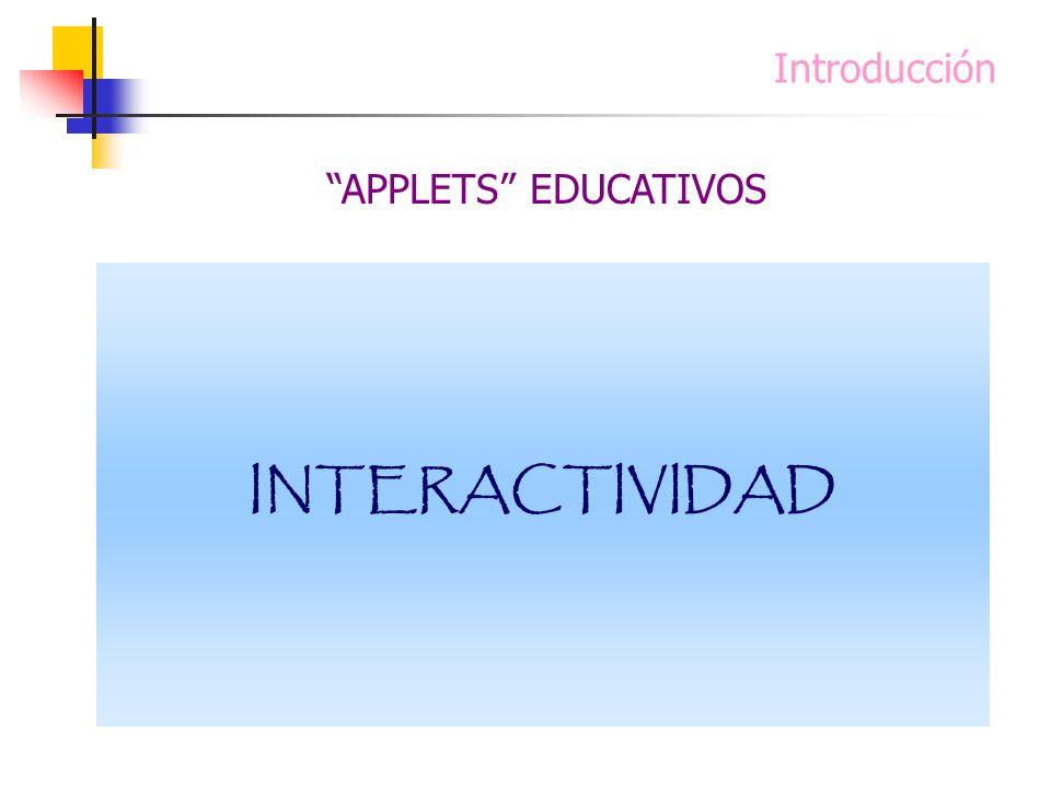 Introducción Un applet interactivo en una sesión ordinaria de clase es un excelente estímulo para propiciar un foro de discusión entre los alumnos. Lo