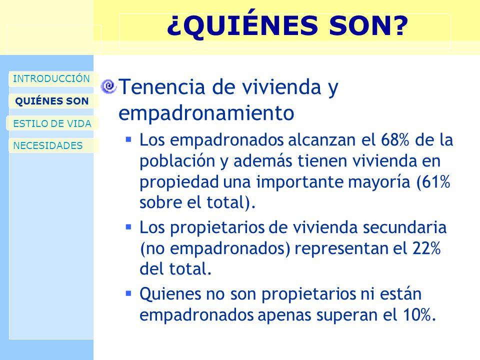 ¿QUIÉNES SON? INTRODUCCIÓN QUIÉNES SON ESTILO DE VIDA NECESIDADES Tenencia de vivienda y empadronamiento Los empadronados alcanzan el 68% de la poblac
