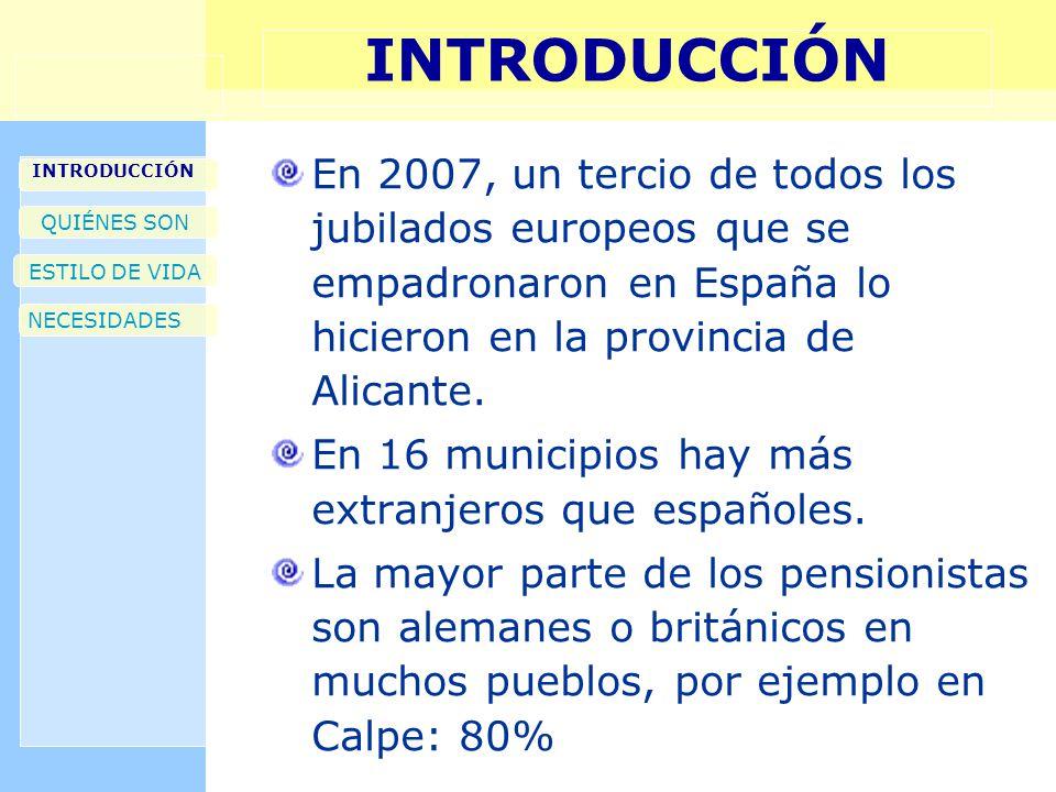 INTRODUCCIÓN En 2007, un tercio de todos los jubilados europeos que se empadronaron en España lo hicieron en la provincia de Alicante. En 16 municipio