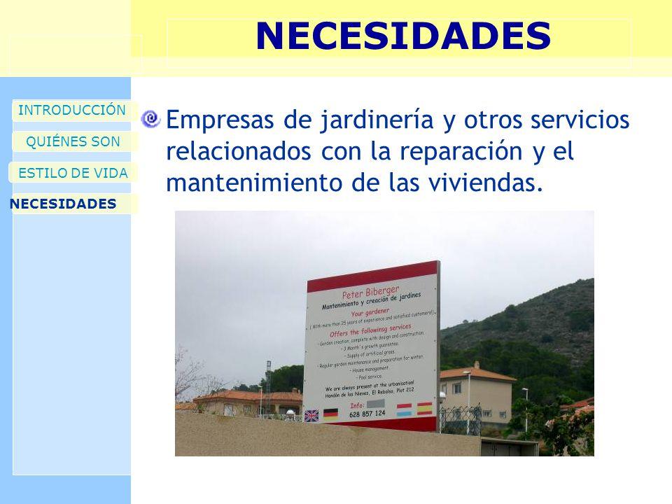 NECESIDADES INTRODUCCIÓN QUIÉNES SON ESTILO DE VIDA NECESIDADES Empresas de jardinería y otros servicios relacionados con la reparación y el mantenimiento de las viviendas.