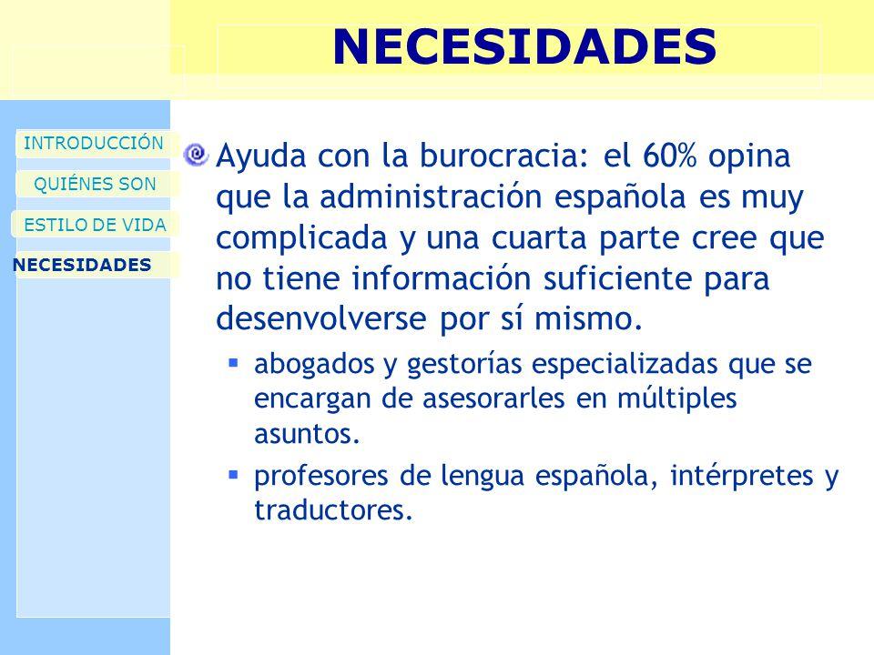 NECESIDADES INTRODUCCIÓN QUIÉNES SON ESTILO DE VIDA NECESIDADES Ayuda con la burocracia: el 60% opina que la administración española es muy complicada y una cuarta parte cree que no tiene información suficiente para desenvolverse por sí mismo.