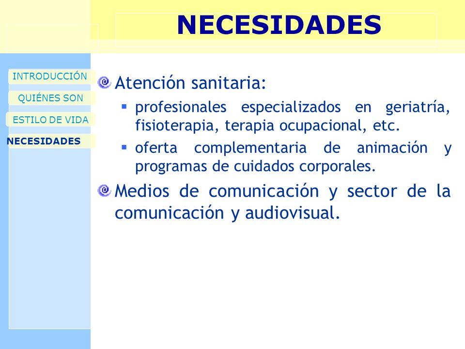 NECESIDADES INTRODUCCIÓN QUIÉNES SON ESTILO DE VIDA NECESIDADES Atención sanitaria: profesionales especializados en geriatría, fisioterapia, terapia ocupacional, etc.