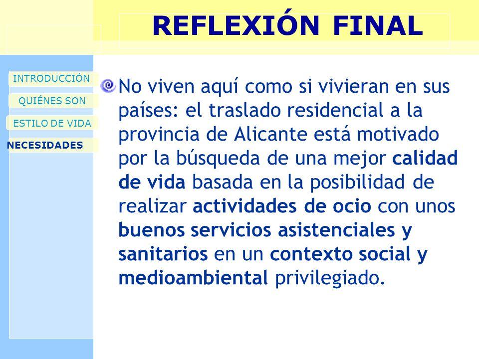 REFLEXIÓN FINAL INTRODUCCIÓN QUIÉNES SON ESTILO DE VIDA NECESIDADES No viven aquí como si vivieran en sus países: el traslado residencial a la provinc