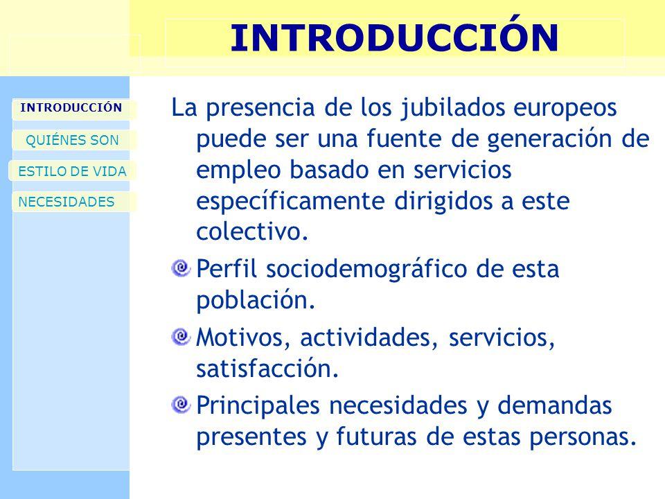 INTRODUCCIÓN QUIÉNES SON ESTILO DE VIDA NECESIDADES La presencia de los jubilados europeos puede ser una fuente de generación de empleo basado en servicios específicamente dirigidos a este colectivo.