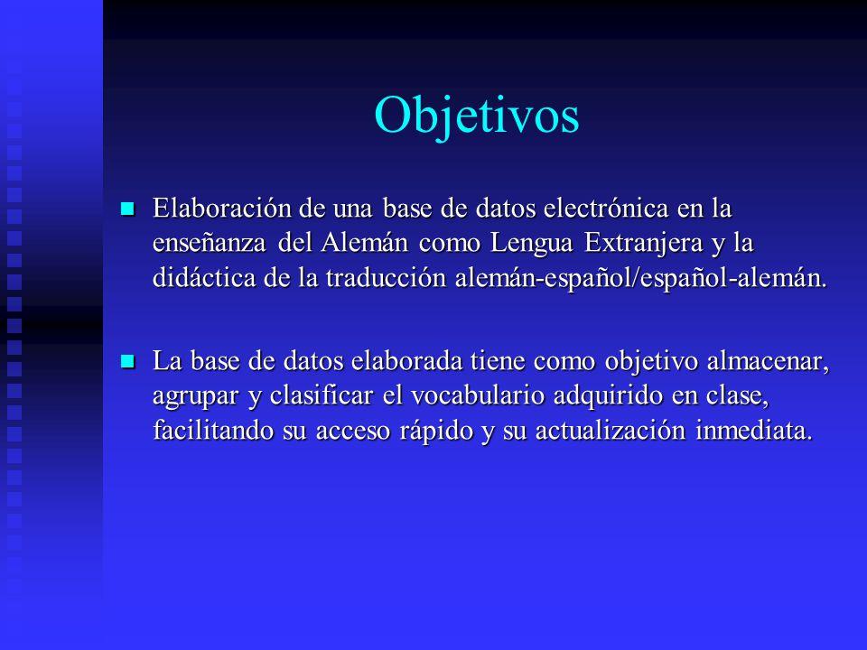 Objetivos Elaboración de una base de datos electrónica en la enseñanza del Alemán como Lengua Extranjera y la didáctica de la traducción alemán-español/español-alemán.