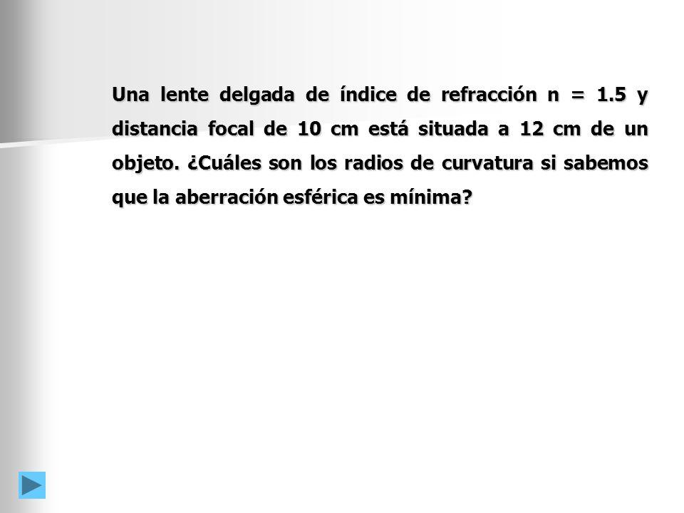 Una lente delgada de índice de refracción n = 1.5 y distancia focal de 10 cm está situada a 12 cm de un objeto.