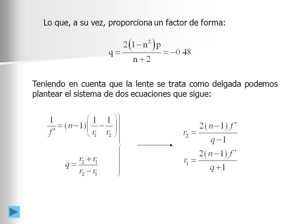 Puesto que n = 1.5, f´= 10 cm, p = 0.67 y q = -0.48 los valores de los radios obtenidos son: De donde se deduce que la lente debe ser biconvexa.
