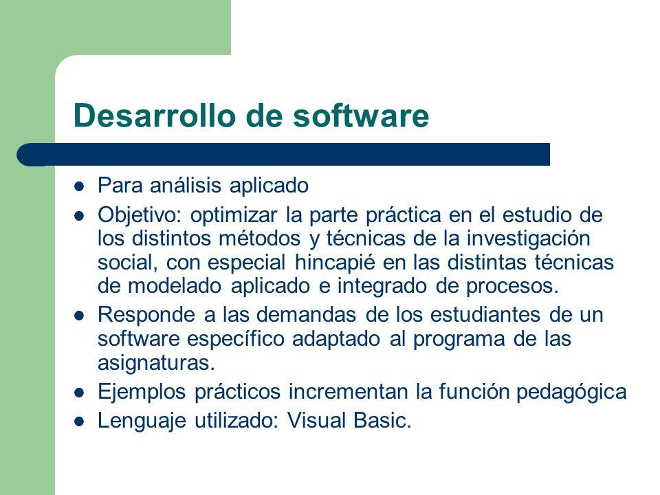 Desarrollo de software Para análisis aplicado Objetivo: optimizar la parte práctica en el estudio de los distintos métodos y técnicas de la investigación social, con especial hincapié en las distintas técnicas de modelado aplicado e integrado de procesos.
