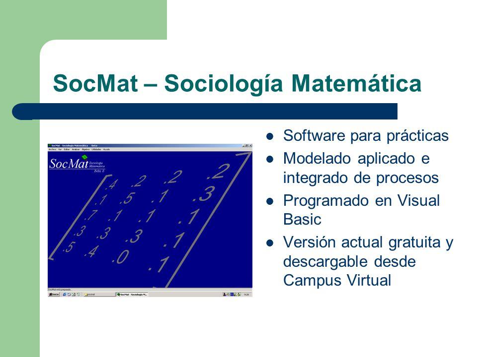 SocMat – Características actuales Modelado de estructuras – Redes – Sociogramas Modelado de procesos – Cadenas de Markov – Series temporales Utilidades – Álgebra matricial – Acceso a utilidades del sistema Programa en continuo desarrollo