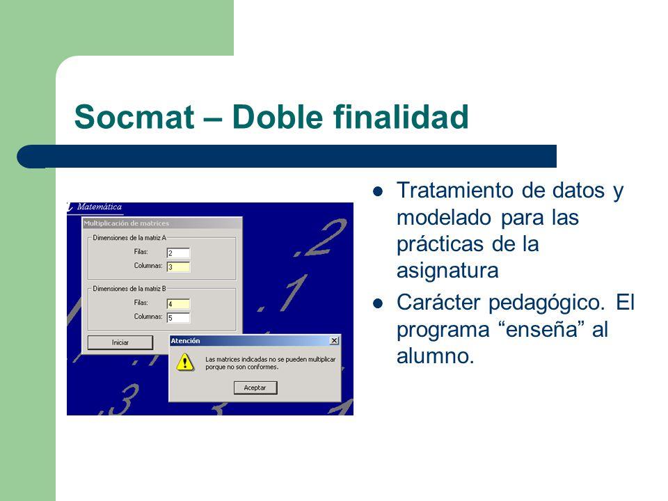 Socmat – Doble finalidad Tratamiento de datos y modelado para las prácticas de la asignatura Carácter pedagógico. El programa enseña al alumno.