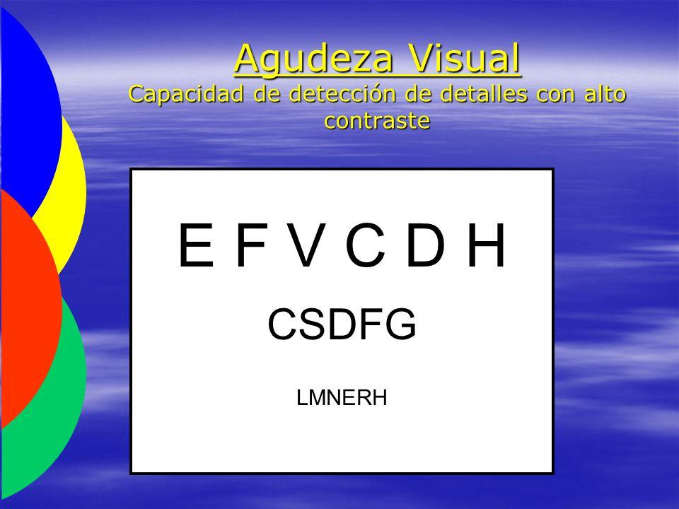 Agudeza Visual Capacidad de detección de detalles con alto contraste E F V C D H CSDFGLMNERH