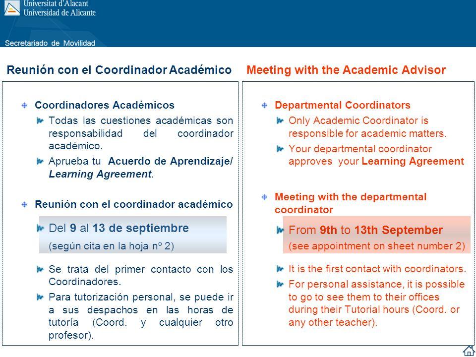 Coordinadores Académicos Todas las cuestiones académicas son responsabilidad del coordinador académico. Aprueba tu Acuerdo de Aprendizaje/ Learning Ag