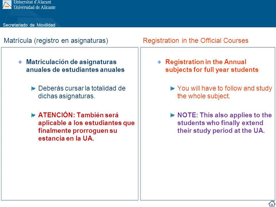 Matriculación de asignaturas anuales de estudiantes anuales Deberás cursar la totalidad de dichas asignaturas. ATENCIÓN: También será aplicable a los
