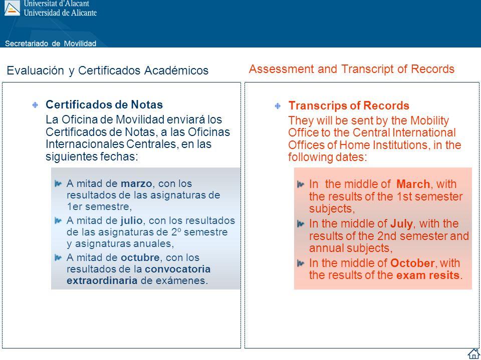 Certificados de Notas La Oficina de Movilidad enviará los Certificados de Notas, a las Oficinas Internacionales Centrales, en las siguientes fechas: A