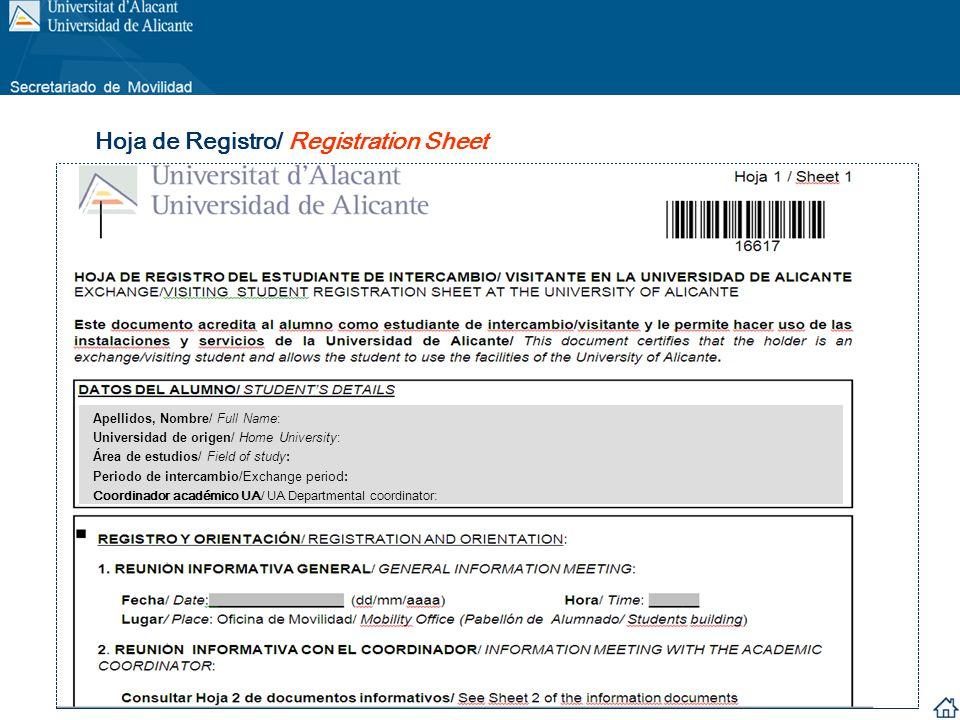 30/01/2013 12/02/2013 Hoja de Registro/ Registration Sheet