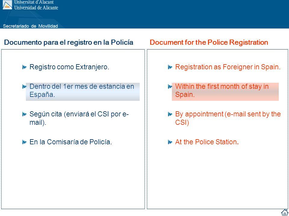 Registro como Extranjero. Dentro del 1er mes de estancia en España. Según cita (enviará el CSI por e- mail). En la Comisaría de Policía. Registration