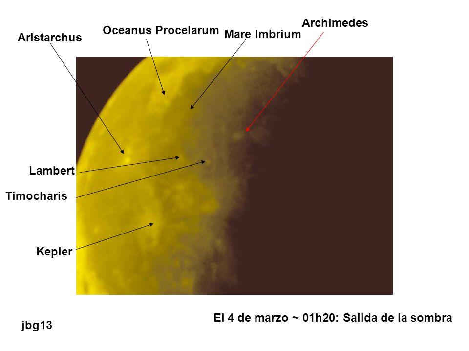 Oceanus Procelarum Aristarchus Mare Imbrium Archimedes Timocharis Lambert Kepler El 4 de marzo ~ 01h20: Salida de la sombra jbg13