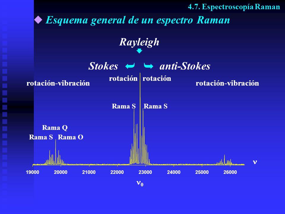Esquema general de un espectro Raman Rama S rotación-vibración Rayleigh rotación-vibración 0 Rama O rotación Rama SRama S Rama Q 190002000021000220002