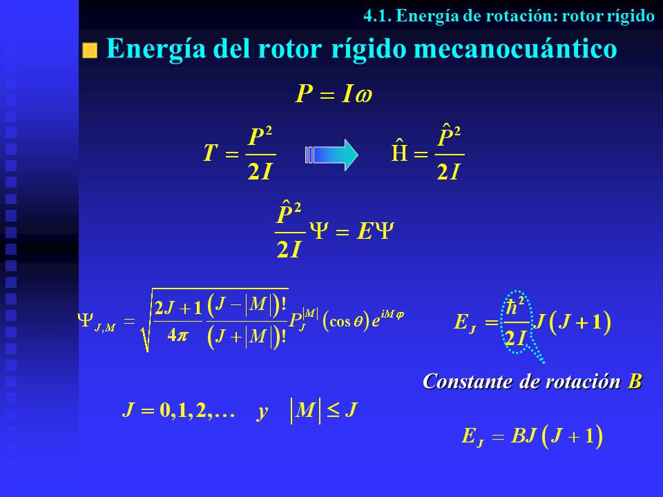 Energía del rotor rígido mecanocuántico 4.1. Energía de rotación: rotor rígido Constante de rotación B