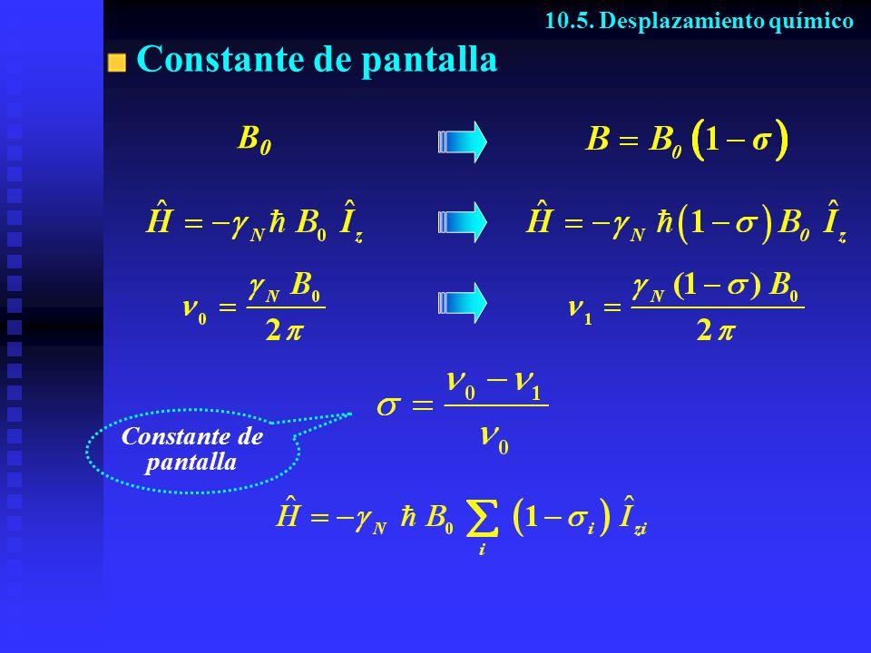 Constante de pantalla 10.5. Desplazamiento químico B0B0 Constante de pantalla