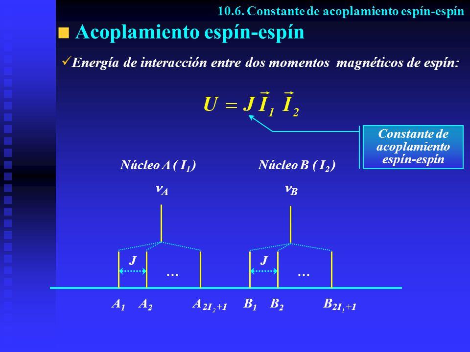 Acoplamiento espín-espín 10.6. Constante de acoplamiento espín-espín E nergía de interacción entre dos momentos magnéticos de espín: Núcleo A ( I 1 )N
