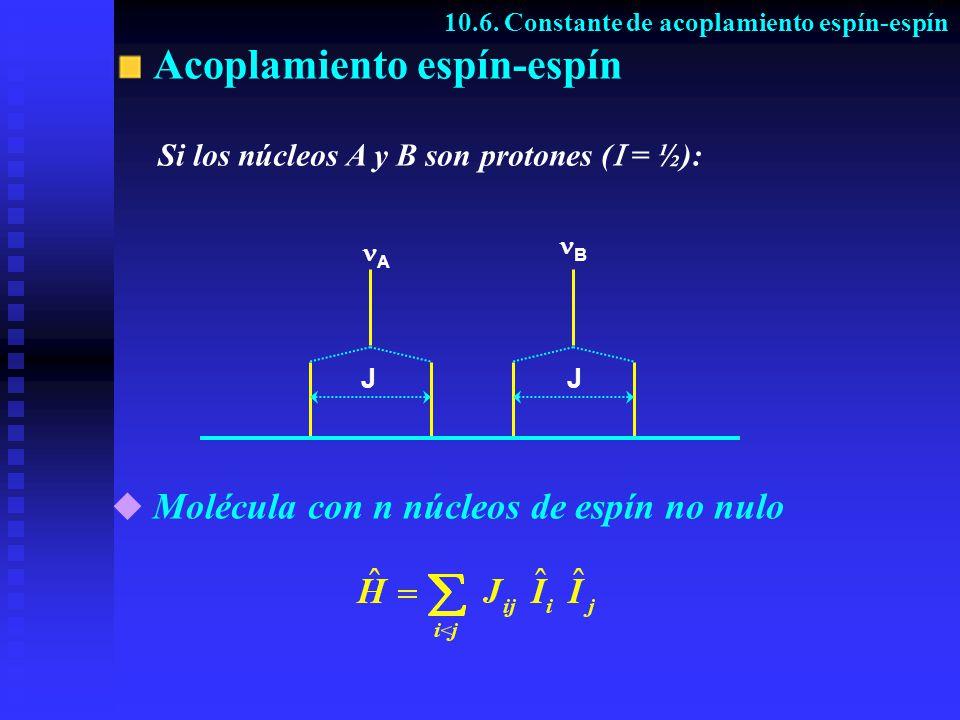 Acoplamiento espín-espín 10.6. Constante de acoplamiento espín-espín A B JJ Si los núcleos A y B son protones ( = ½): Molécula con n núcleos de espín