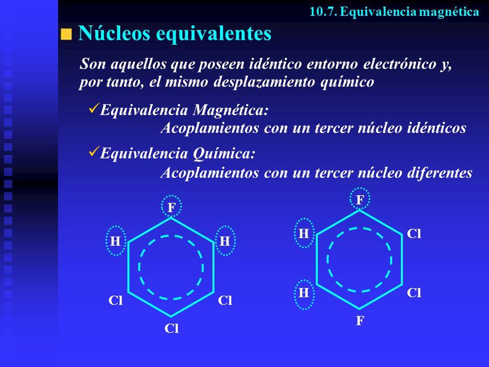 Núcleos equivalentes F Cl HH F F H H Son aquellos que poseen idéntico entorno electrónico y, por tanto, el mismo desplazamiento químico E quivalencia Magnética: Acoplamientos con un tercer núcleo idénticos E quivalencia Química: Acoplamientos con un tercer núcleo diferentes 10.7.