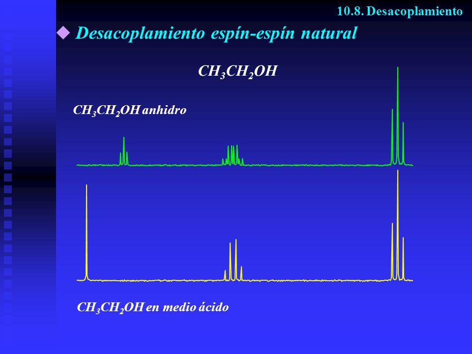 Desacoplamiento espín-espín natural CH 3 CH 2 OH 10.8. Desacoplamiento CH 3 CH 2 OH anhidro CH 3 CH 2 OH en medio ácido