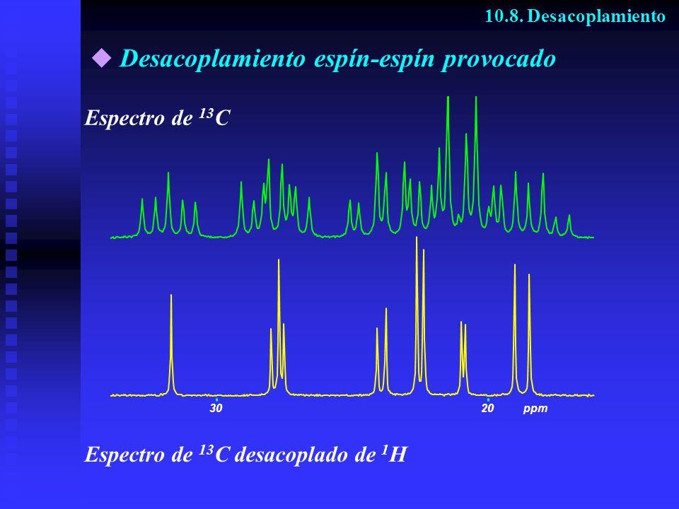 Desacoplamiento espín-espín provocado 10.8. Desacoplamiento Espectro de 13 C Espectro de 13 C desacoplado de 1 H 3020ppm