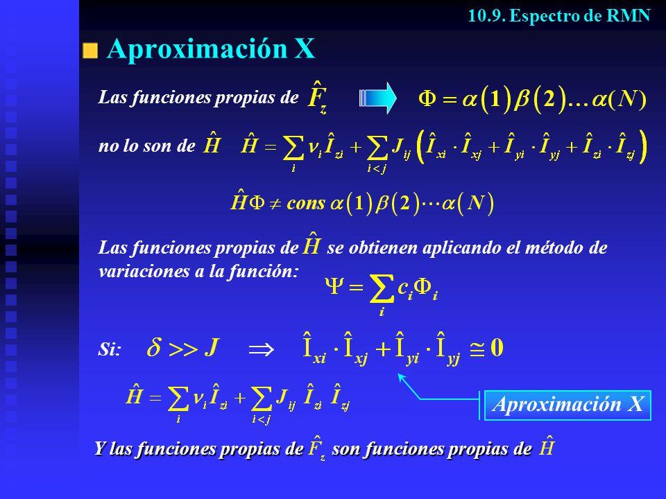 Aproximación X Y las funciones propias de son funciones propias de 10.9. Espectro de RMN Las funciones propias de se obtienen aplicando el método de v