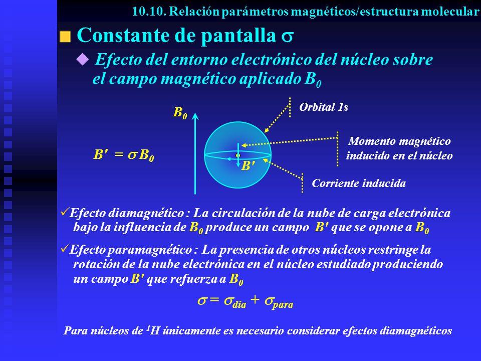 Constante de pantalla B'B' B0B0 B' = B 0 E fecto diamagnético : La circulación de la nube de carga electrónica bajo la influencia de B 0 produce un ca