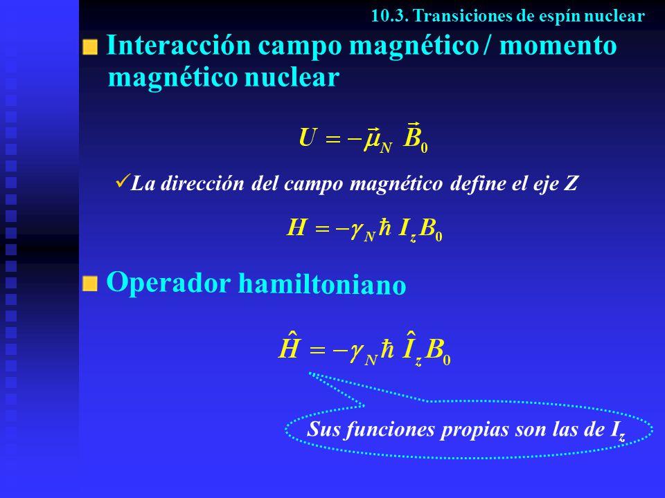 Interacción campo magnético / momento magnético nuclear 10.3. Transiciones de espín nuclear La dirección del campo magnético define el eje Z Operador