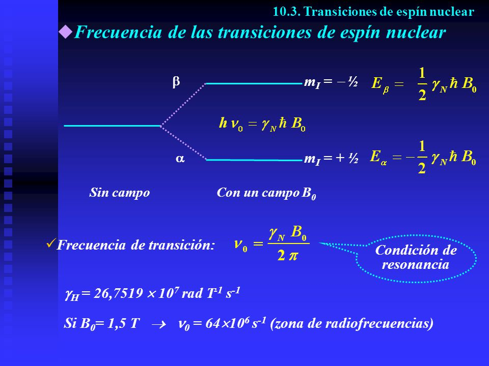 Frecuencia de las transiciones de espín nuclear 10.3. Transiciones de espín nuclear Con un campo B 0 Sin campo m I = + ½ m I = ½ Condición de resonanc