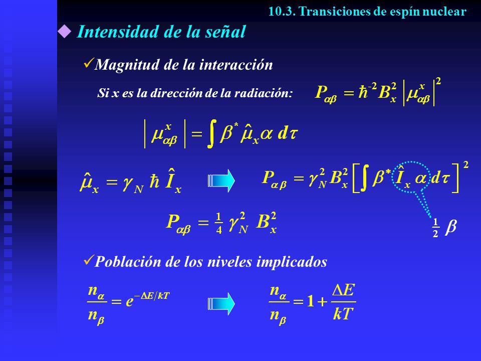 Intensidad de la señal 10.3. Transiciones de espín nuclear Si x es la dirección de la radiación: Magnitud de la interacción Población de los niveles i