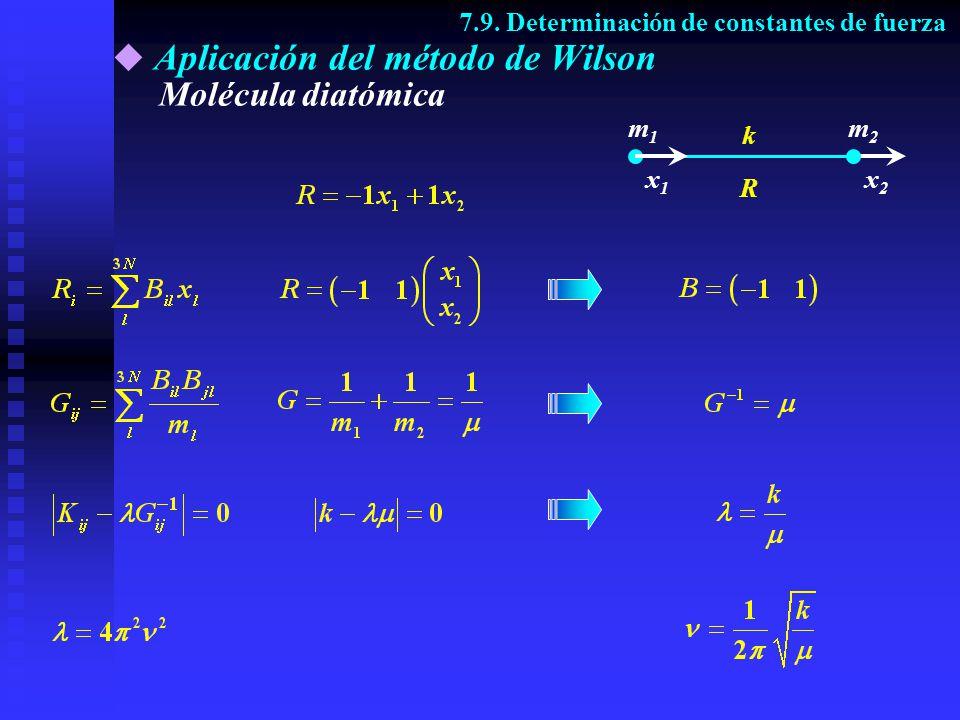 Aplicación del método de Wilson Vibraciones de tensión de una molécula triatómica 7.9.