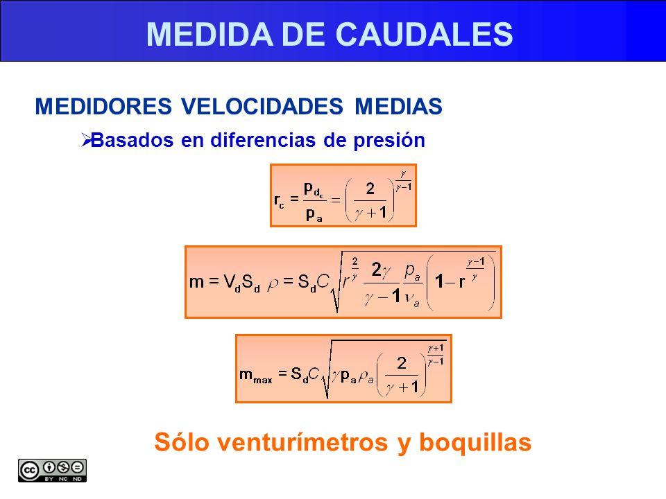 MEDIDA DE CAUDALES MEDIDORES VELOCIDADES MEDIAS Basados en diferencias de presión Sólo venturímetros y boquillas