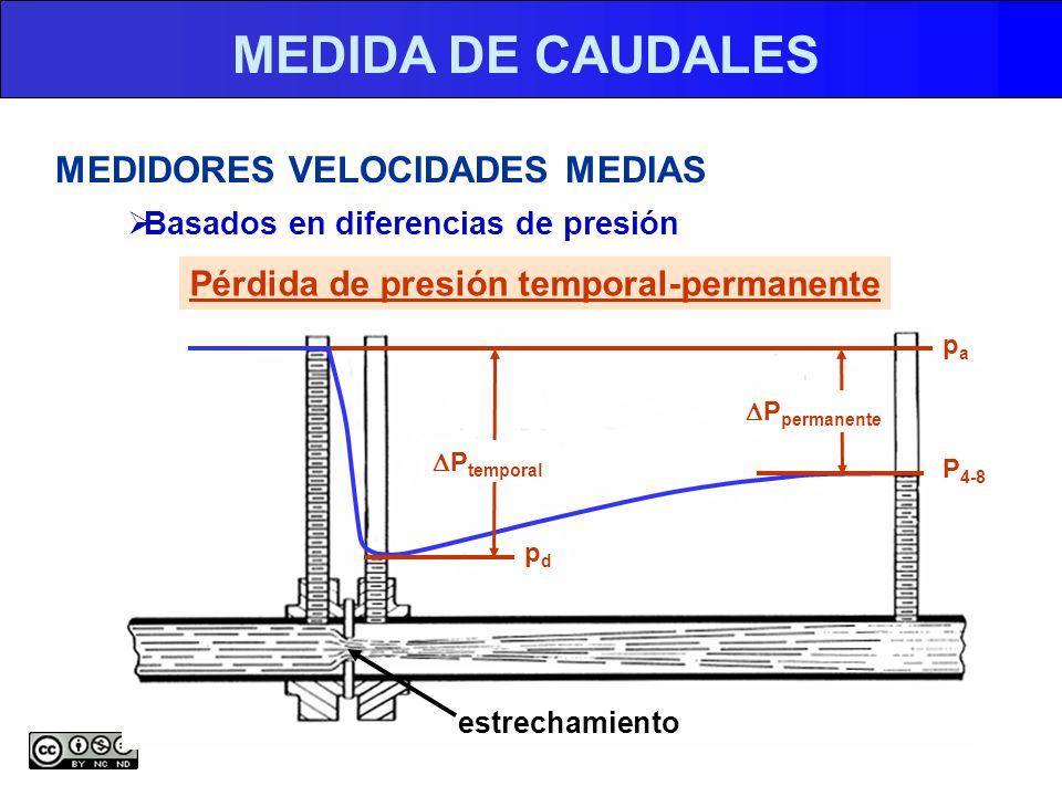 MEDIDA DE CAUDALES MEDIDORES VELOCIDADES MEDIAS Basados en diferencias de presión Pérdida de presión temporal-permanente estrechamiento P temporal P permanente papa pdpd P 4-8