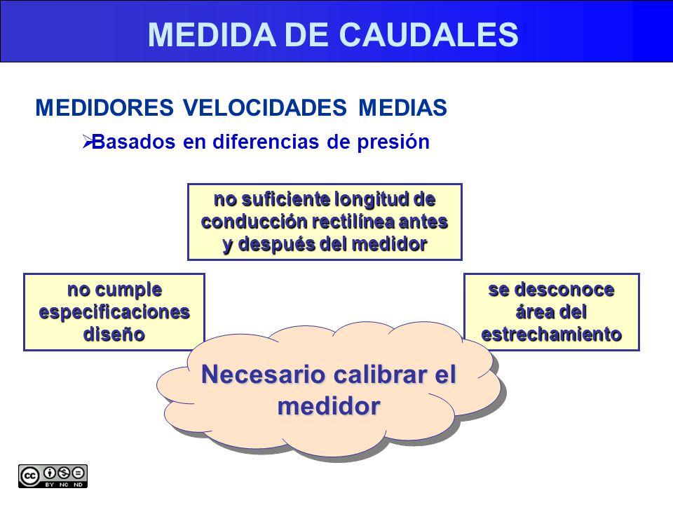 MEDIDA DE CAUDALES MEDIDORES VELOCIDADES MEDIAS Basados en diferencias de presión no suficiente longitud de conducción rectilínea antes y después del medidor no cumple especificaciones diseño se desconoce área del estrechamiento Necesario calibrar el medidor