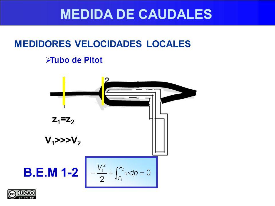 MEDIDA DE CAUDALES MEDIDORES VELOCIDADES LOCALES Tubo de Pitot V 1 >>>V 2 z 1 =z 2 B.E.M 1-2