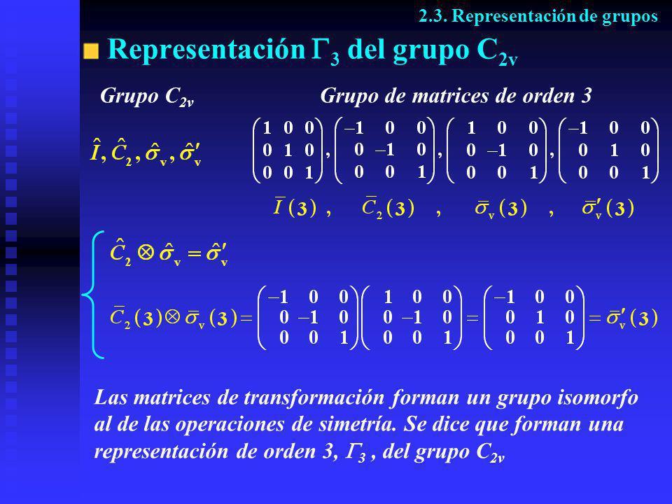 Grupo C 2v Representación 3 del grupo C 2v 2.3. Representación de grupos Grupo de matrices de orden 3 Las matrices de transformación forman un grupo i