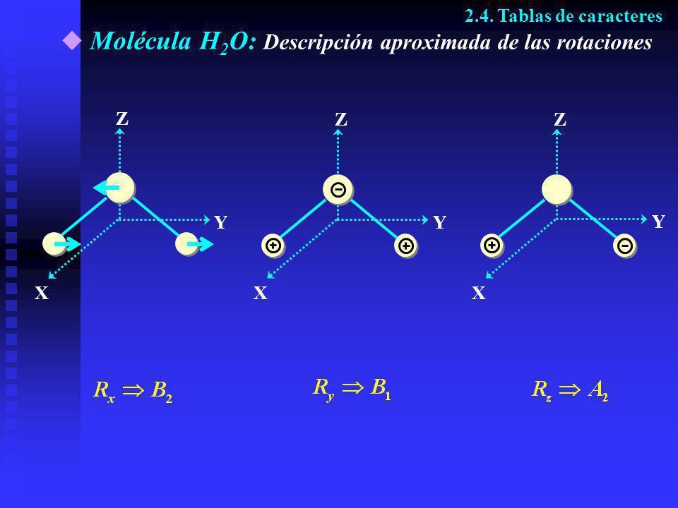 Molécula H 2 O: Descripción aproximada de las rotaciones Z Y X Z Y X Z Y X 2.4. Tablas de caracteres
