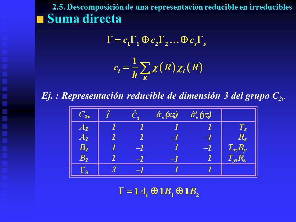 Suma directa Ej. : Representación reducible de dimensión 3 del grupo C 2v 2.5. Descomposición de una representación reducible en irreducibles
