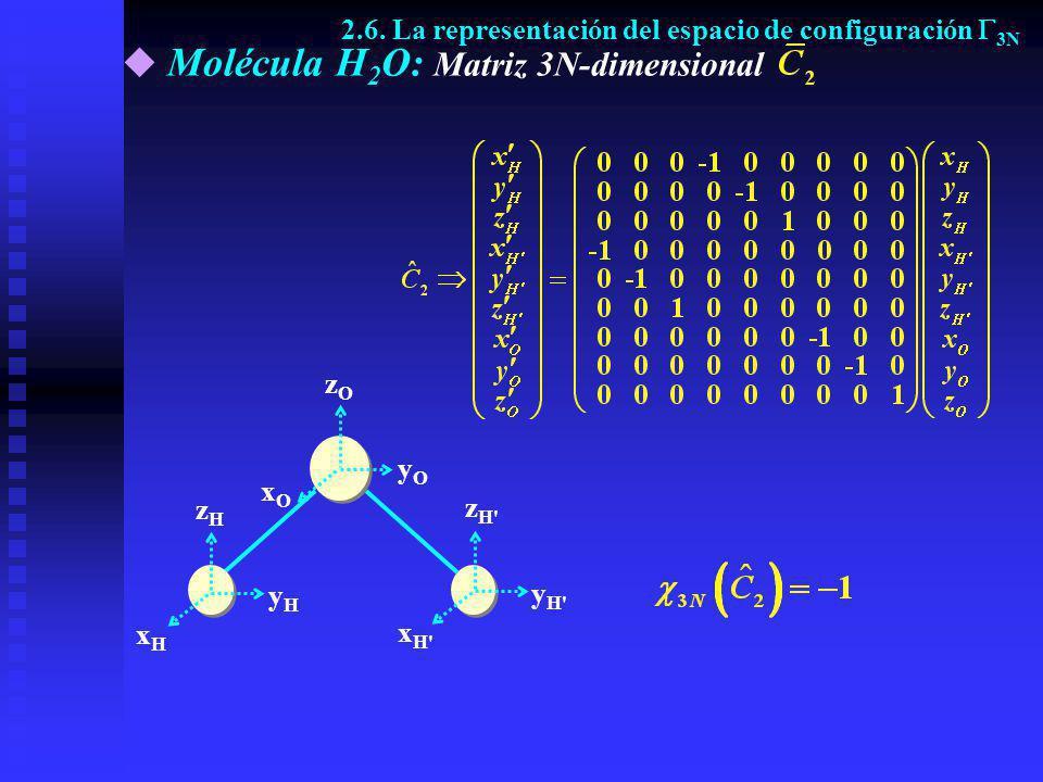 Molécula H 2 O: Matriz 3N-dimensional yOyO yHyH xHxH zHzH xOxO zOzO z H' y H' x H' 2.6. La representación del espacio de configuración 3N