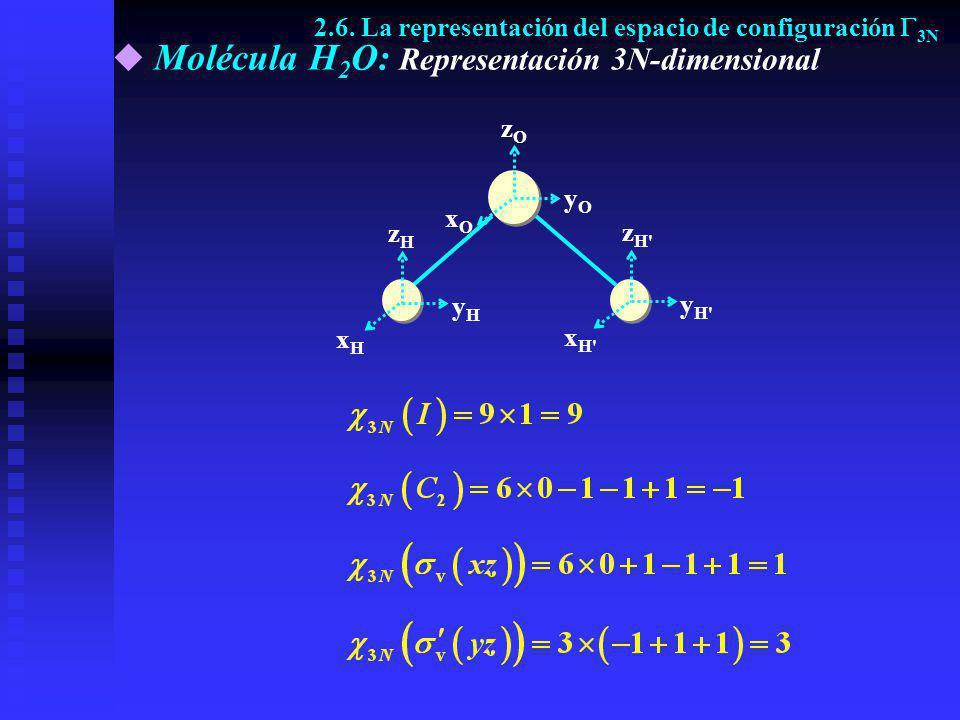 Molécula H 2 O: Representación 3N-dimensional yOyO yHyH xHxH zHzH xOxO zOzO z H' y H' x H' 2.6. La representación del espacio de configuración 3N