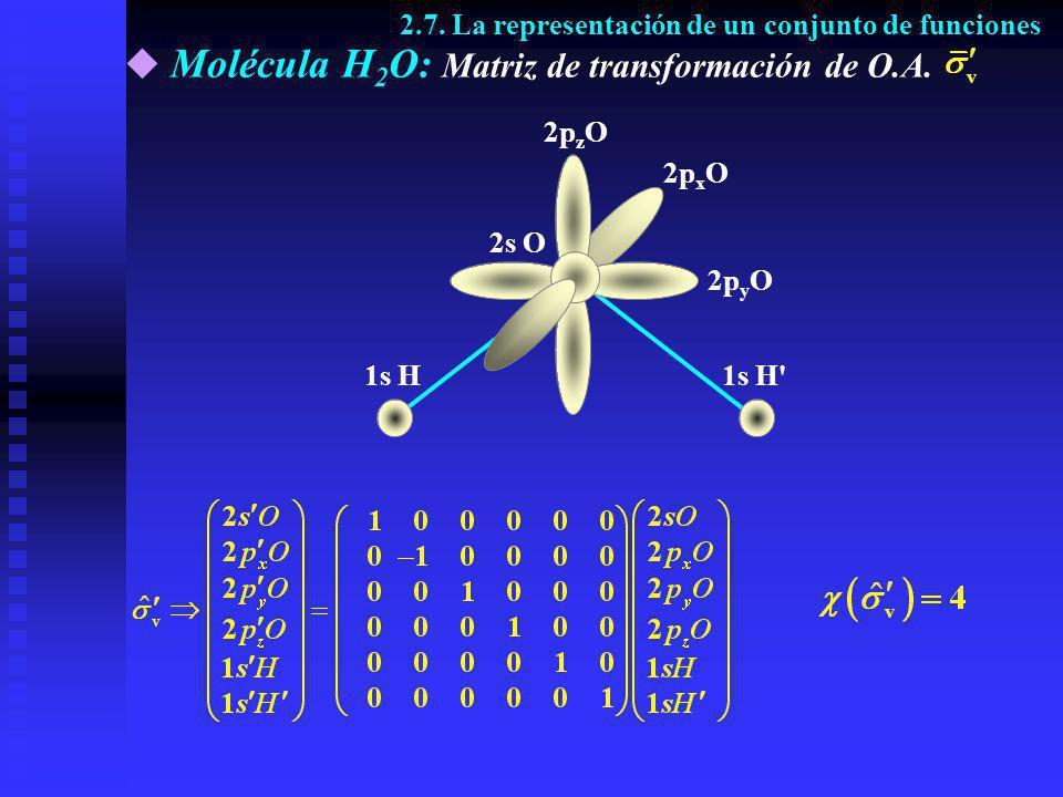 Molécula H 2 O: Matriz de transformación de O.A. 2p z O 2p y O 1s H'1s H 2s O 2p x O 2.7. La representación de un conjunto de funciones