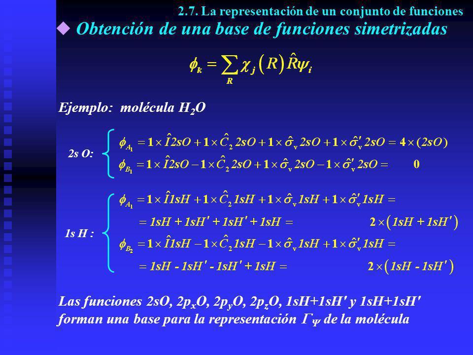 Obtención de una base de funciones simetrizadas 2s O: 1s H : Las funciones 2sO, 2p x O, 2p y O, 2p z O, 1sH+1sH' y 1sH+1sH' forman una base para la re