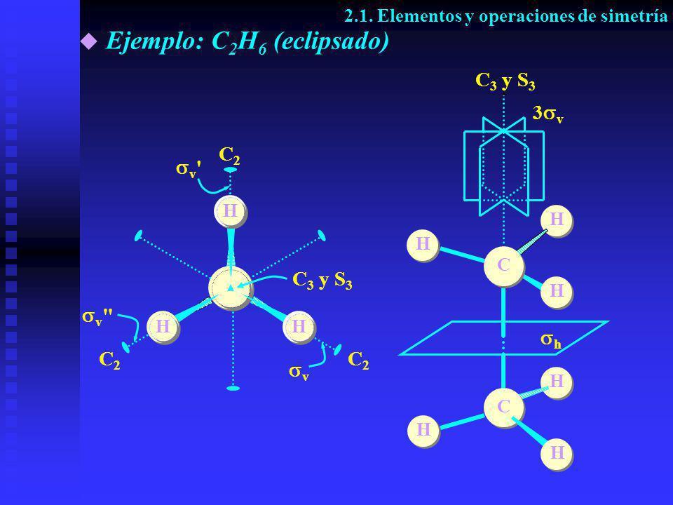 H H C2 C2 d C2 C2 C2C2 S 6 y C 3 d d H HH H H C H C H H i S 6 y C 3 3 d H H Ejemplo: C 2 H 6 (alternado) 2.1.