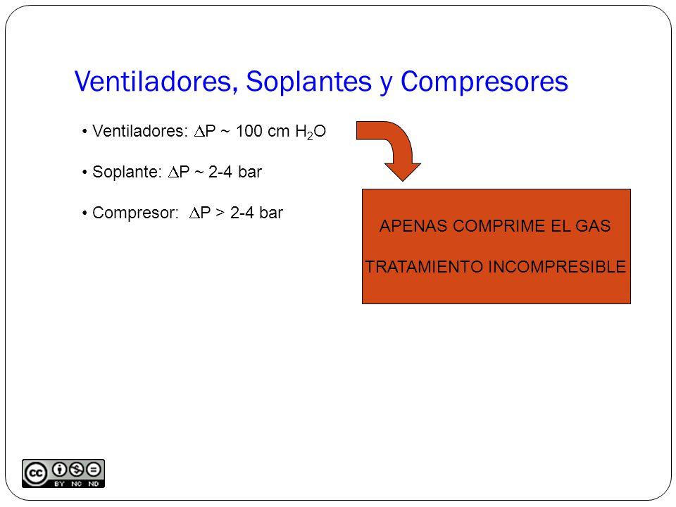 Ventiladores, Soplantes y Compresores Ventiladores: P ~ 100 cm H 2 O Soplante: P ~ 2-4 bar Compresor: P > 2-4 bar APENAS COMPRIME EL GAS TRATAMIENTO INCOMPRESIBLE