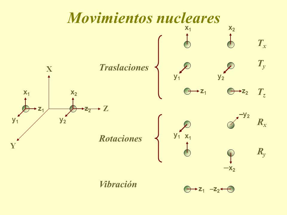 Movimientos nucleares Traslaciones TyTy y1y1 y2y2 TzTz z1z1 z2z2 Rotaciones RxRx RyRy Vibración y1y1 –y2–y2 x1x1 –x2–x2 z1z1 –z2–z2 X Z x1x1 x2x2 y1y1